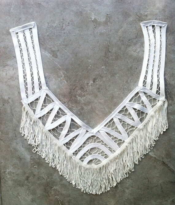 Retro White Silky Crochet  Neck Lace Collar with tassels for blouse, top, dress or embellish accessories.