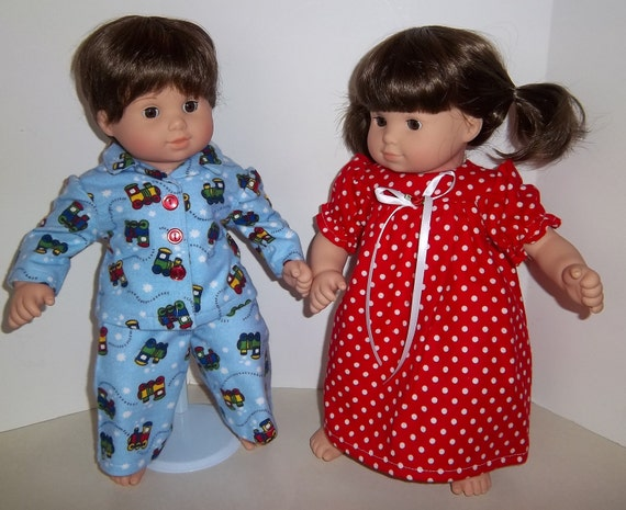 "American Girl 15"" Doll Clothing - Bitty Twins Pajamas ""Choo Choos and Polka Dots"""