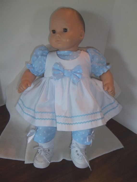 """15""""  American Girl Bitty Baby Pinafore Set in Baby Blue"""