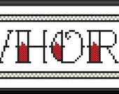 Whore - tattoo letters - PDF counted cross stitch pattern 8X10