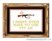 PDF PATTERN ONLY Ice Cube quote counted cross stitch pattern - I didn't even have to use my ak 5x7