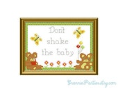 Don't shake the baby - counted cross stitch sampler PDF pattern 5x7