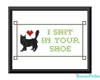 I sh-t in your shoe counted cross stitch sampler pattern 5X7