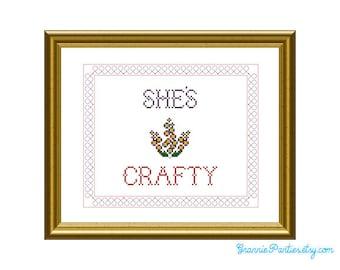 She's Crafty - PDF counted cross stitch pattern 8X10