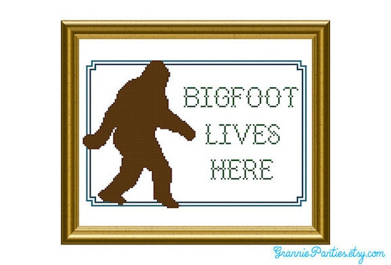 Bigfoot lives here PDF counted cross stitch sampler pattern 8X10