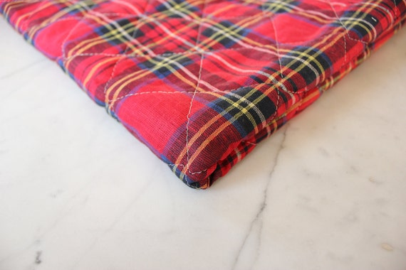 Plaid Cotton and Wool Quilted Lining - Vintage Red and Green Plaid with Raw Wool - Perfect for Vests and Jackets