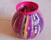 Glass Vase - Pink and Purple Recycled/Upcycled Glass Vase