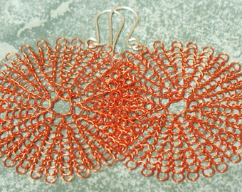 knit wire earrings, large in orange
