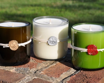 Recycled wine bottle candle, soy wax in 13 awesome fragrances