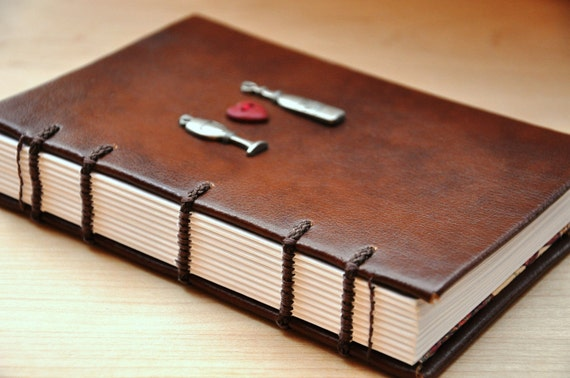 "I Heart Wine Journal - handmade, coptic bound, faux leather with heart and wine charms, 4 x 6"" size"