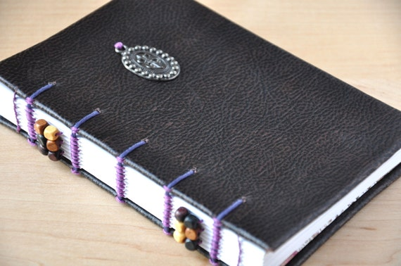 "ON SALE - Fleur De Lis Charm Journal and Sketchbook - Handmade with coptic bound, faux leather with elegant charm, 4 x 6"" size"