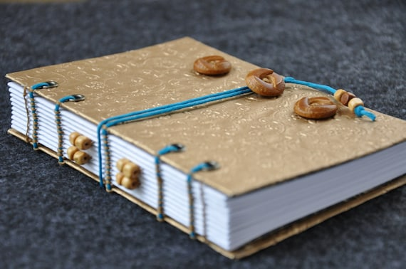 """Wanderlust Travel Journal and Sketchbook - Handmade, gold with reclaimed buttons, 4 x 6"""" size"""