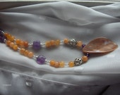 Citrine, Amethyst, Mother of Pearl and Sterling Silver Necklace