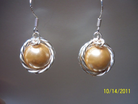 Wire Wrapped Glass Pearl earrings - Currently Available in Light Gold only