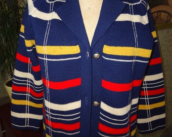 1960's Woman's Vintage Navy Blues striped Wool Button up Knit Sweater