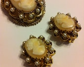 Stunning Florenza Shell Cameo Brooch and Earrings