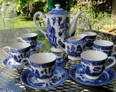 Child's Blue Willow Tea Set Japan 16 Pc Set