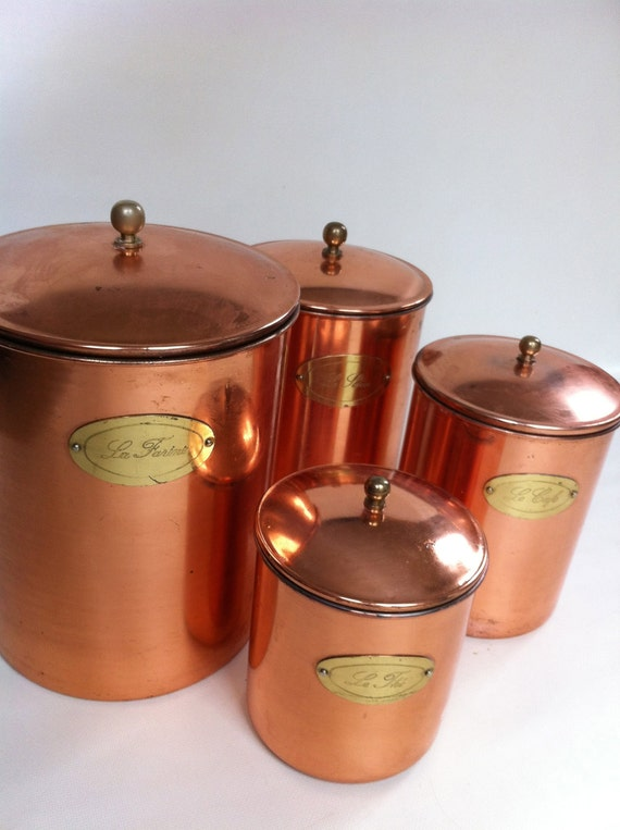 Copper Canister Set French Labels