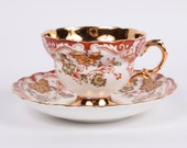 Reserved for Krystle Rosina Bone China Teacup and Saucer 4820 Gold Trimmed Made in England Vintage