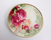 Vintage Thomas Sevres Bavaria Plate Hand Painted Signed Pink Roses Villa Charlotte Gold Trim