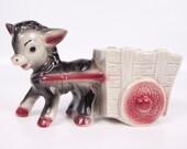 Vintage Donkey Planter Mule Pulling Cart Flower Pot Gray Maroon Figurine