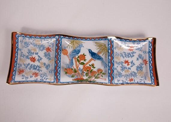 Vintage Dorothy Thorpe Divided Glass Tray 18K Gold 3 Section Serving Platter Handpainted  Orange Blue