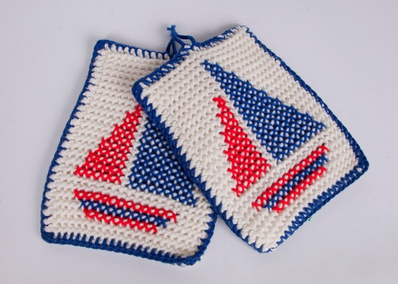 Vintage Nautical Potholder Nautical Sail Boats Pot Holders Red White Blue