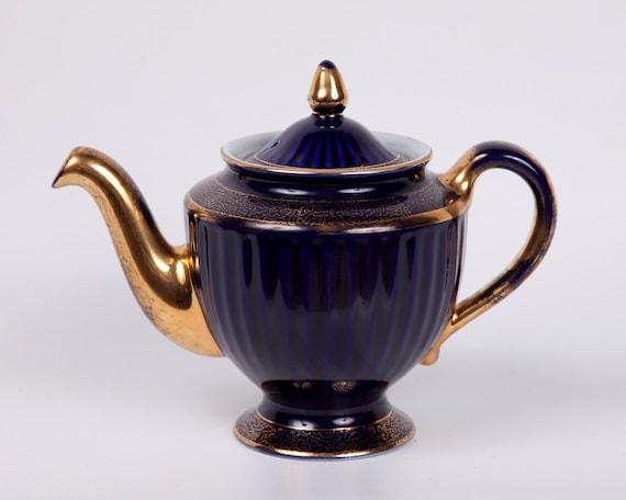 Hall Teapot Cobalt Blue Vintage Los Angeles Style 6 Cup