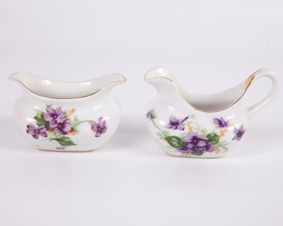 Violets Sugar and Creamer Purple and Green Gilt Interco Chicago Made in Japan