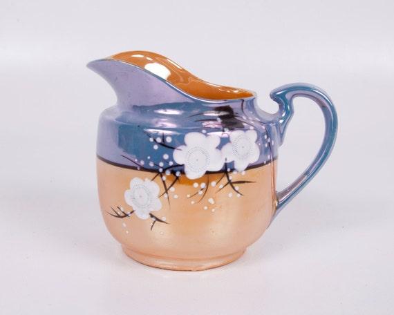 Vintage Lusterware Creamer Japan Hand Painted Cherry Blossoms