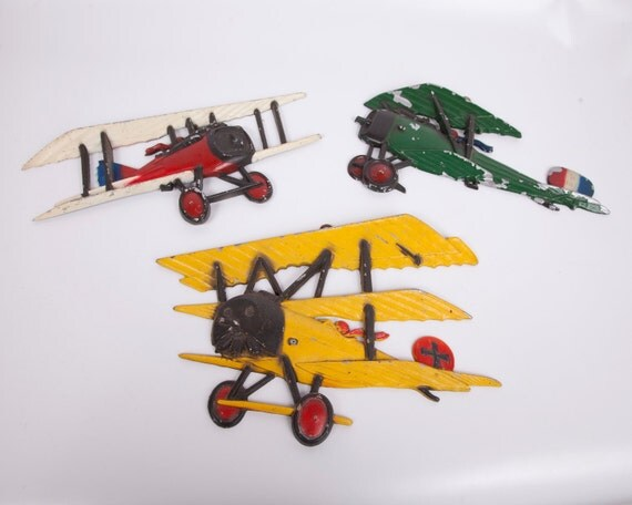 Vintage Sexton Cast Metal Planes Set of 3 Aviation Wall Art 1970s
