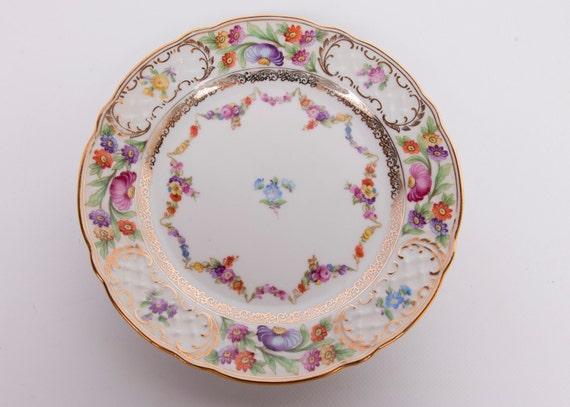 "Vintage Floral Plate Schumann Arzberg Germany 7 3/4"" Dessert Plate"