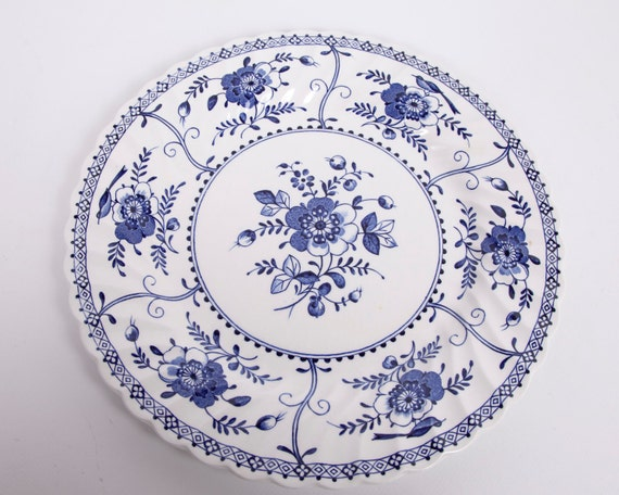 Vintage Johnson Brothers Plate Blue Indies Pattern Dinner Plate Made in England 1970s