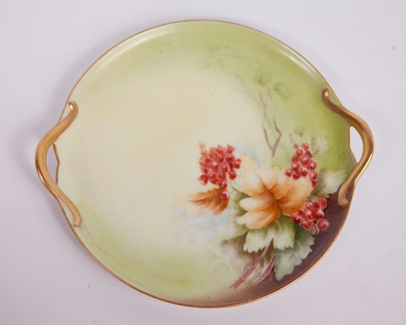 Vintage German Plate Gold Double Handled Flowers Signed