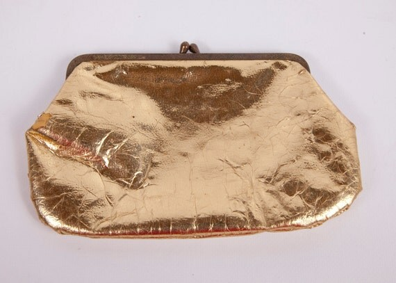 Vintage Gold Clutch Coin Purse shiny