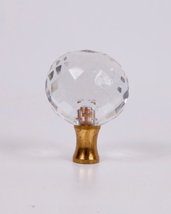 Antique Lamp Finial top Brass Crystal Faceted