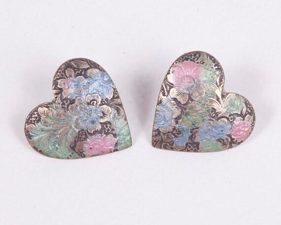 Vintage Heart Earrings Embossed Flowers Pierced Stud