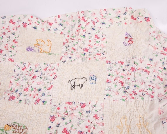 Vintage Child Quilt Animals Baby Blanket Handmade Embroidered Crib