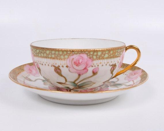 Vintage Japan Teacup 1920s Handpainted Pink Roses Raised Gold Cherry Blossom Stamp