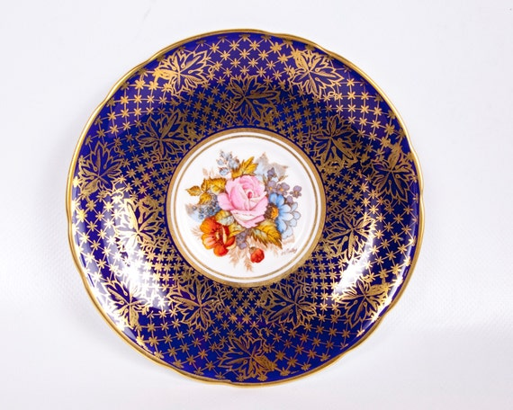 Vintage Aynsley Saucer Bone China Cobalt Blue and Gold England Hand Painted Artist Signed Floral Design