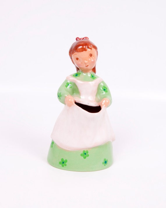 Vintage Sally Brayton Pottery Figurine Planter Vase Ceramic Mid Century Girl Holding Flowers