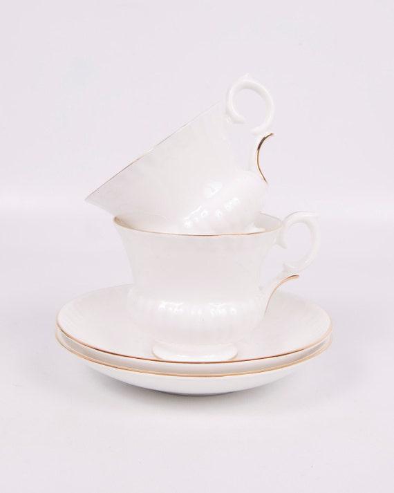 Vintage Crown Staffordshire Teacups Fine Bone China 2 sets White Gold England
