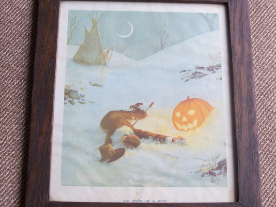 "Antique Framed Halloween/Thanksgiving Print ""The Price of a Joke"""