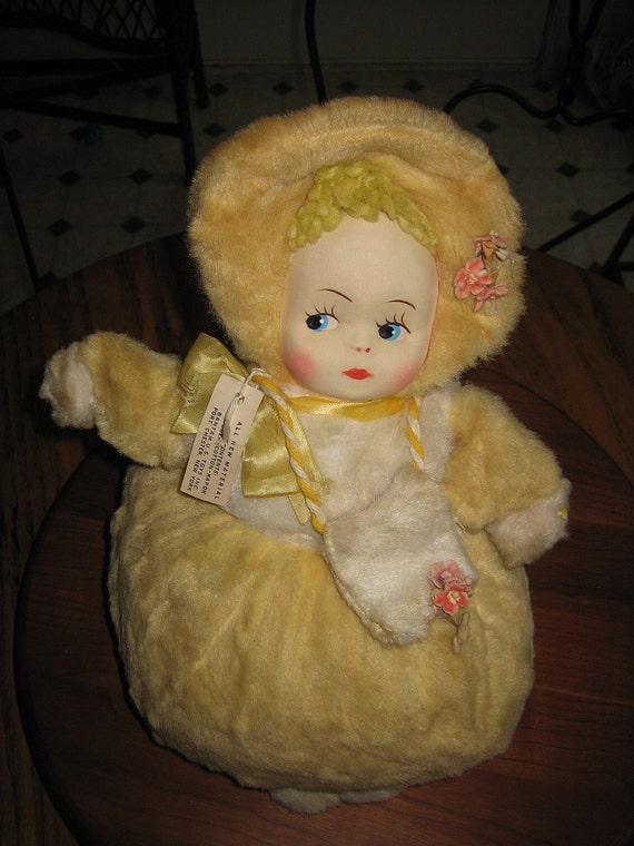 Great Vintage 1950's Plush Roly Poly Crib Doll From Bantam Toys