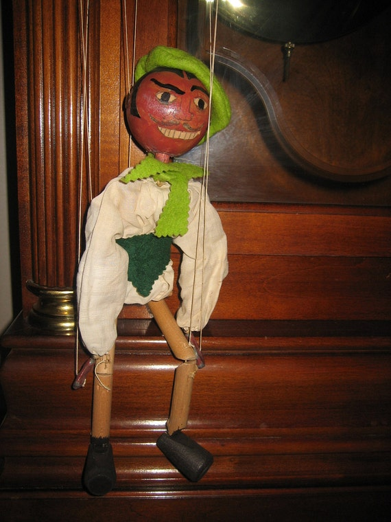 Vintage Wooden Marionette With Original Box