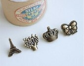 4Pcs Snap Button Antique bronze Plated Brass Bottons Set, 15mm,Cute Pattern for eiffel Tower,tree,crown and bow-(4 in a set)(CB1)
