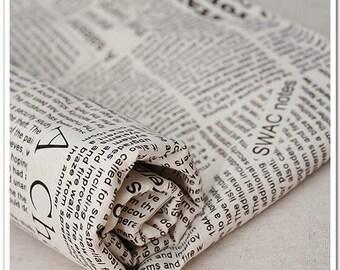 Half Yard Linen cloth for craft, Newspaper design,diy,Brown letters,beige base color,garment accessory (C6)