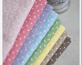 "Bundle Fabric Polka Dotted Fabric Bundle Colorful Polka Dots Style Linen Bundle- sets for 7Pcs 13""X19"" C16-M"