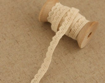 2 Yards Lace Trims 0.8cm Wide,Small Peaks,Pure Beige Color,Cotton(GL5)