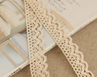 2 Yards Lace Trims 2.0cm Wide,Continuous Wave,Beige Color,Cotton(GL22)